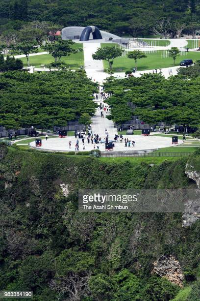 In this aerial image people visit the Cornerstone of Peace where the names of their bereaved family members and relatives engraved at the Peace...