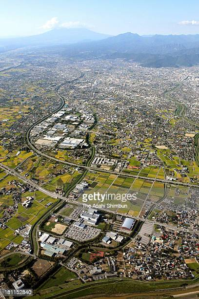 In this aerial image planned construction site of the Yamanashiken station of the new 500 kilometerperhour maglev train is seen on September 18 2013...