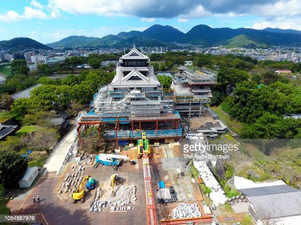 In this aerial image restoration work of the Kumamoto Castle continues on October 07 2018 in Kumamoto Japan