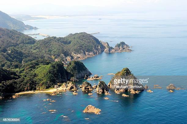 In this aerial image, San-in coastline is seen after registered as Global Geopark network on October 1, 2010 in Iwami, Tottori, Japan.