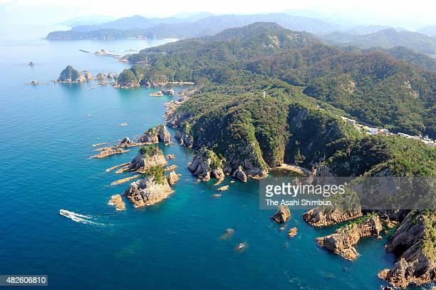In this aerial image, San-in coastline, Uratomi beach area, is seen after registered as Global Geopark network on October 1, 2010 in Iwami, Tottori,...