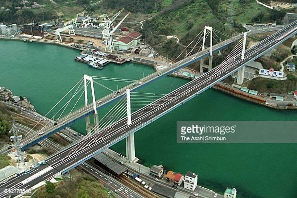 In this aerial image Shin Onomichi Ohashi Bridge of Shimanami Kaido Expressway is seen on April 3 1999 in Onomichi Hiroshima Japan