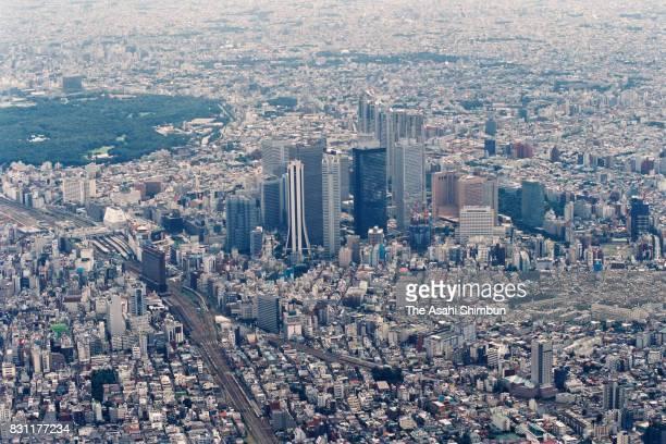 In this aerial image Shinjuku area is seen on August 22 1993 in Tokyo Japan
