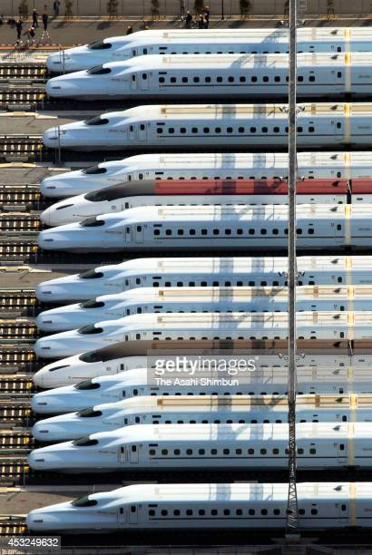 In this aerial image Shinkansen bullet train N700 and 800 series are displayed at Kumamoto train depot on March 11 2011 in Kumamoto Japan
