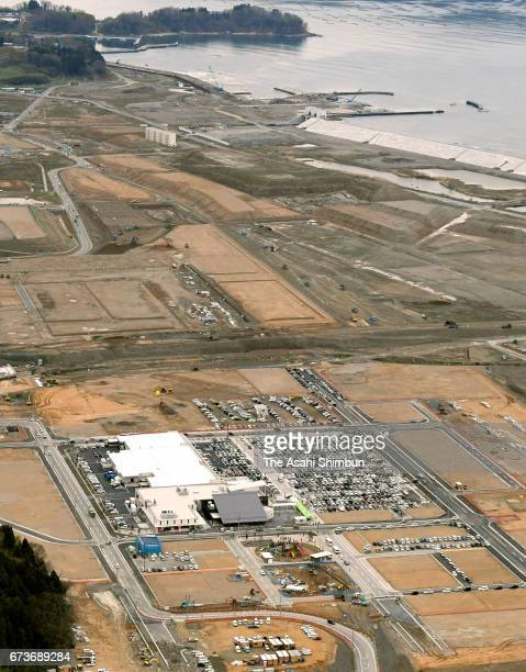 In this aerial image shopping complex 'Abasse Takata' is seen on April 27 2017 in Rikuzentakata Iwate Japan The complex has been built on the 912...