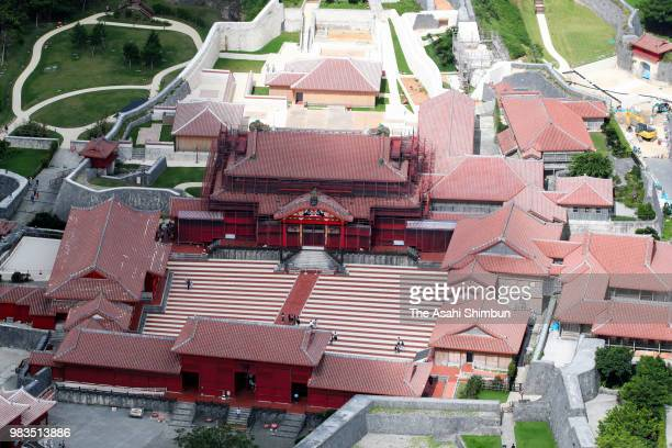 In this aerial image Shuri Castle is seen on June 23 2018 in Naha Okinawa Japan
