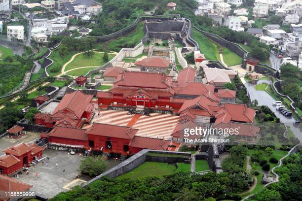 In this aerial image Shuri Castle is seen on June 23 2019 in Naha Okinawa Japan