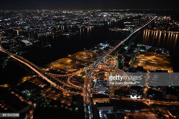 In this aerial image Shuto Expressway Daikoku Junction is seen on January 11 2017 in Yokohama Kanagawa Japan