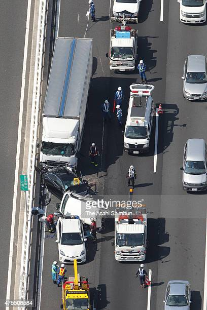 In this aerial image site of a pile up accident involving eight cars is seen at Yokohama Bay Bridge on June 1 2015 in Yokohama Kanagawa Japan 10...