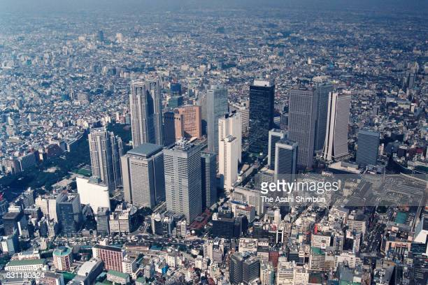 In this aerial image skyscrapers in Shinjuku are seen on September 28 1993 in Tokyo Japan