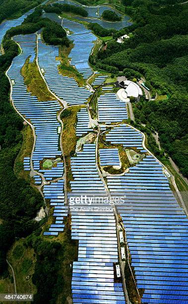 In this aerial image solar panels are arranged at the former golf course which are closed due to the decrease of golf players numbers and the nuclear...