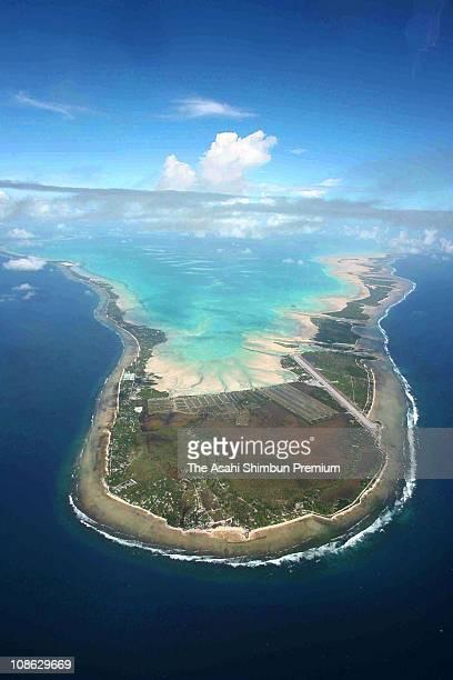 In this aerial image Tarawa Atoll is seen on March 15 2007 in Funafuti Tuvalu