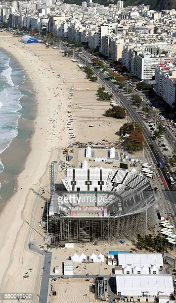 In this aerial image the beach volleyball stadium is seen at the Copacabana ahead of the Summer Olympic Games on July 23 2016 in Rio de Janeiro Brazil