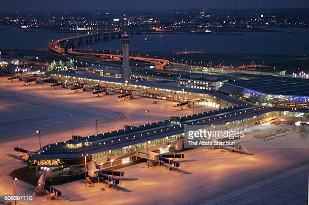 In this aerial image, the Chubu International Airport is seen prior to the opening on February 15, 2005 in Tokonama, Aichi, Japan.