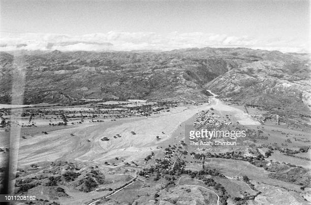 In this aerial image, the city of Armero is buried by lahars triggered by the eruption of the Mt. Nevado del Ruiz destroyed the city on November 18,...
