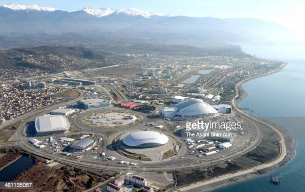 In this aerial image the Coastal Cluster venues for the 2014 Winter Olympic Games are seen on January 4 2014 in Sochi Russia The mountains in the...