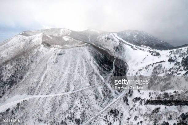 In this aerial image the crater of Motoshiranesan where an eruption occurred is seen on January 23 2018 in Kusatsu Gunma Japan KusatsuShirane a...