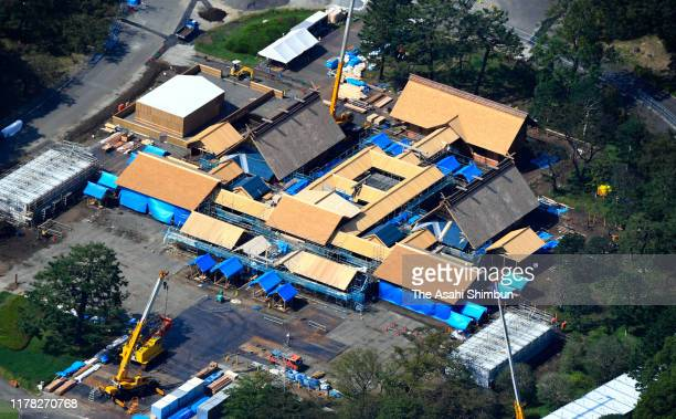 In this aerial image, the Daijokyu Palace, which will be used for the ascension rite of the new emperor is under construction in the premises of the...