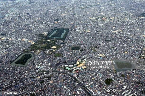 In this aerial image, the Daisen burial mound and other burial mounds are seen on April 28, 2019 in Sakai, Osaka, Japan.