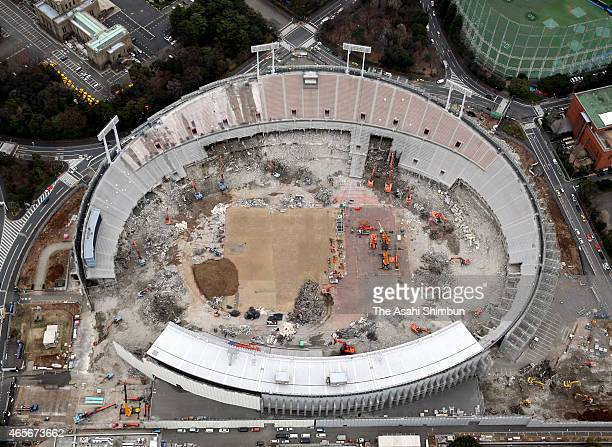 In this aerial image the demolishing work continues at the National Stadium on March 6 2015 in Tokyo Japan The new stadium designed by British...