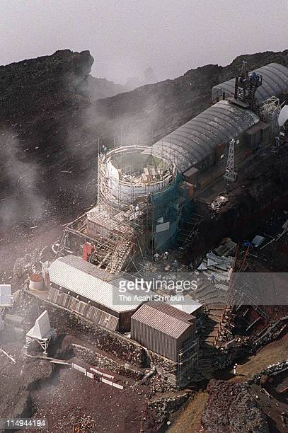 In this aerial image the demolision work of Radar Dome continues on Mount Fuji on September 5 2001 in Mount Fuji Japan