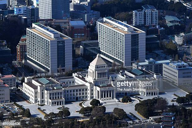 In this aerial image the Diet building is seen on January 18 2017 in Tokyo Japan