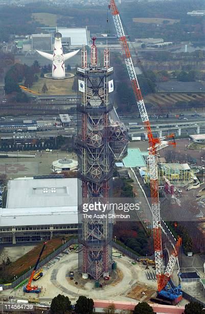 In this aerial image the Expo Tower demolishing work begins at Expo '70 Commemorative Park on November 21 2002 in Suita Osaka Japan