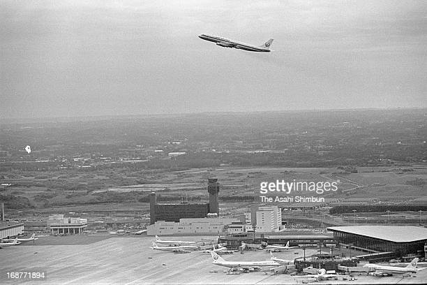 In this aerial image the first flight Japan Airlines 947 takes off from the newly opened New Tokyo International Airport on May 22 1978 in Narita...