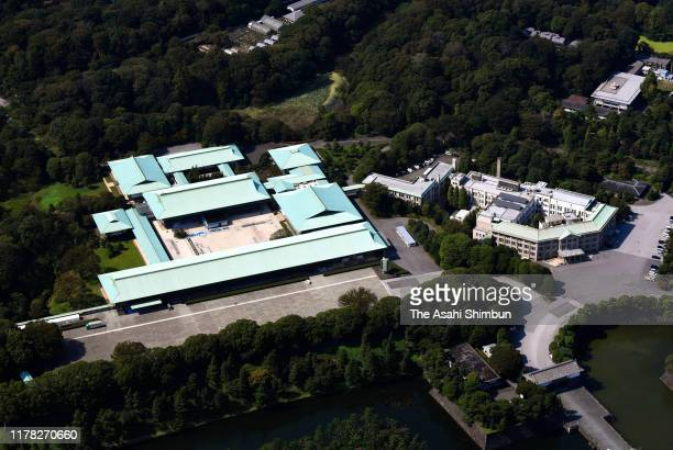 In this aerial image, the Imperial Palace and the Imperial Household Agency building are seen on September 30, 2019 in Tokyo, Japan.
