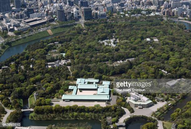 In this aerial image the Imperial Palace is seen on April 8 2018 in Tokyo Japan