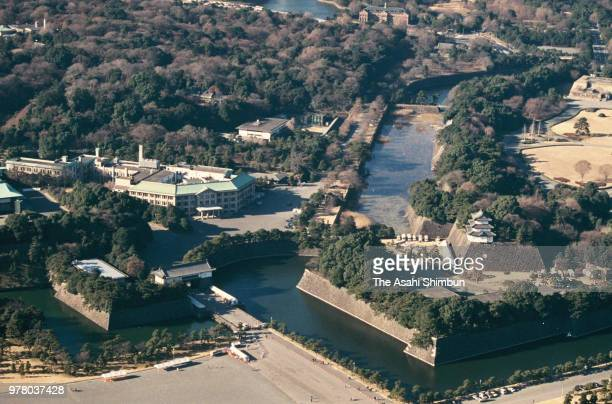 In this aerial image the Imperial Palace is seen on December 30 1988 in Tokyo Japan