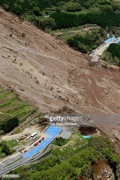 In this aerial image the landslide site where Aso Ohashi Bridge was washed away and a man has been missing on April 30 2016 in Minamiaso Kumamoto...
