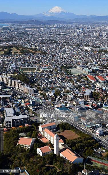 In this aerial image, The Matsushita Institute of Government and Management building is seen on December 11, 2012 in Chigasaki, Kanagawa, Japan.