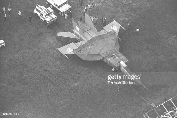 In this aerial image the MiG25 which Lieutenant Viktor Belenko of Soviet Air Defence Forces landed to seek political asylum in the United States is...