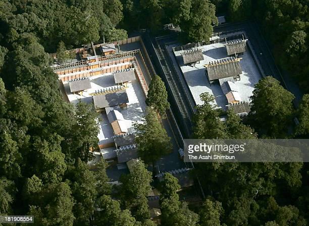In this aerial image, The new main shrine of Ise Jingu's Inner Shrine , left, is seen on September 25, 2013 in Ise, Mie, Japan. On October 2, Ise...