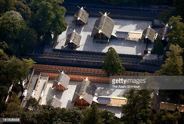 In this aerial image, The new main shrine of Ise Jingu's Inner Shrine , foreground, is seen on September 25, 2013 in Ise, Mie, Japan. On October 2,...