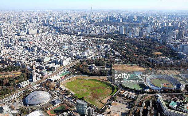 In this aerial image the new National Stadium construction site is seen on December 22 2015 in Tokyo Japan It will cost an estimated 149 billion yen...