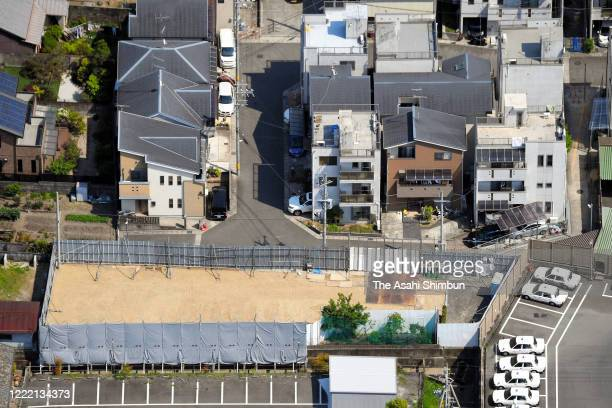 In this aerial image, the site Kyoto Animation Co's No.1 Studio used to stand is seen on April 29, 2020 in Kyoto, Japan. Deadly arson attack claimed...