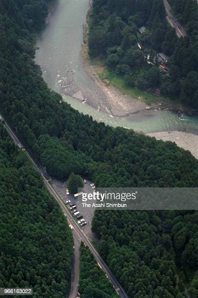 In this aerial image, the site where a part of the body of slain 5-year-old girl was found after the little girls serial killer Tsutomu Miyazaki's...