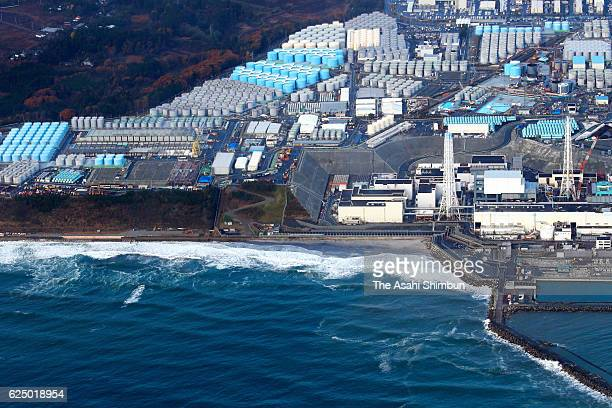 In this aerial image the Tokyo Electric Power Co's Fukushima Daiichi Nuclear Power Plant is seen after the magnitude74 earthquake hit offshore...