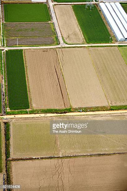 In this aerial image there is belived to be an active fault is seen on April 16 2016 in Kashima Kumamoto Japan The magnitude 73 earthquake hit Kyushu...