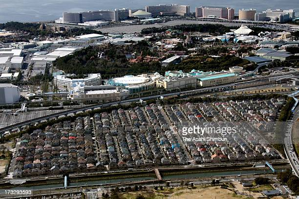 In this aerial image Tokyo Disney Resort and Maihama residential area are seen on March 20 2012 in Urayasu Chiba Japan