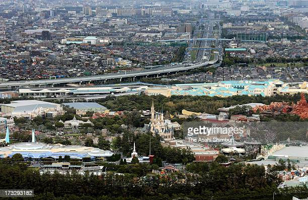In this aerial image Tokyo Disney Resort and residential area are seen on April 14 2013 in Urayasu Chiba Japan