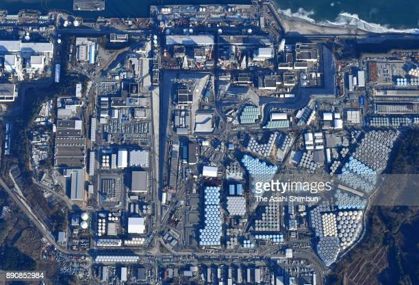 In this aerial image Tokyo Electric Power Co 's Fukushima Daiichi Nuclear Power Plant is seen on December 11 2017 in Okuma Fukushima Japan Although...