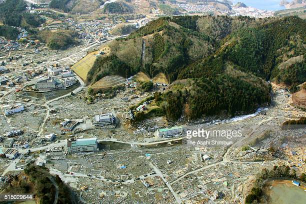 In this aerial image Tsunami devastated Onagawa is seen on March 19 2011 in Onagawa Miyagi Japan The quake struck offshore at 246pm local time...