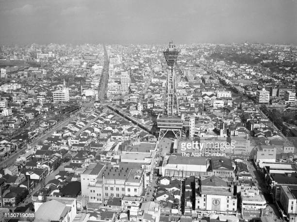 In this aerial image Tsutenkaku Tower and surrounding area are seen on December 20 1962 in Osaka Japan