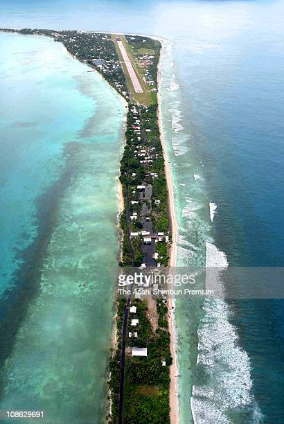In this aerial image Tuvalu's captial Funafuti is seen on March 17 2007 in Funafuti Tuvaru