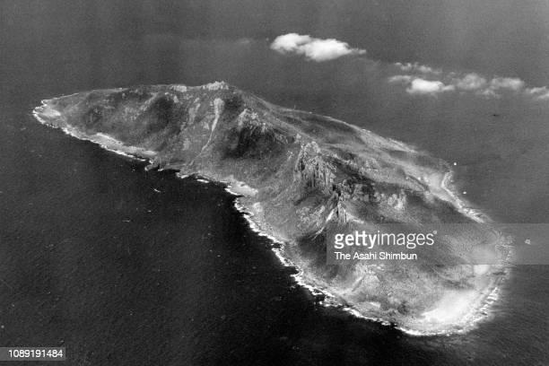 In this aerial image Uotsurijima Island of the Senkaku Islands is seen on April 20 1978 in Ishigaki Okinawa Japan
