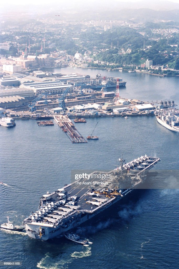 In this aerial image, U S  aircraft carrier USS Ranger