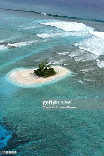 In this aerial image Vasafua Island is seen on March 17 2007 in Funafuti Tuvalu
